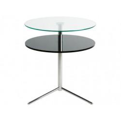 Tavolino da Sala Due Ripiani Vetro-Legno Nero