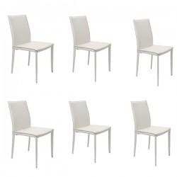 6 Sedie Bianche in Cuoio Rigenerato