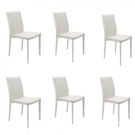6 sedie bianche in cuoio rigenerato mdm arredo mobili for Sedie bianche