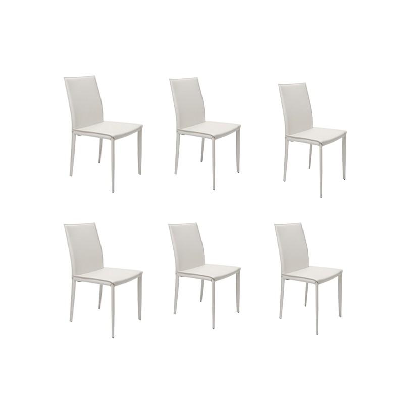 6 sedie bianche in cuoio rigenerato mdm arredo mobili for Sedie bianche design