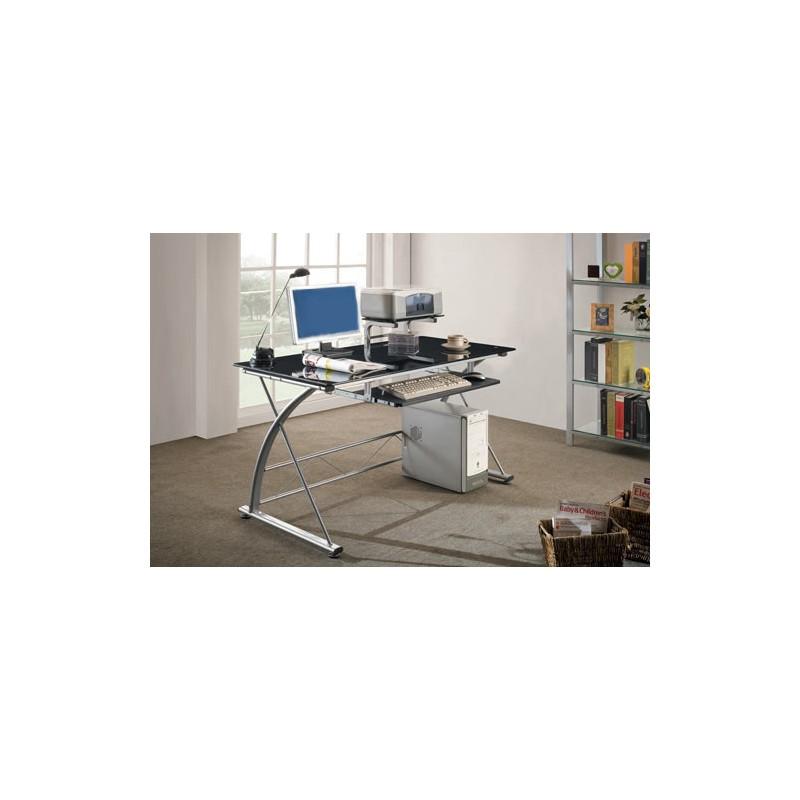 Scrivania porta pc vetro nero mdm arredo mobili for Accessori scrivania design
