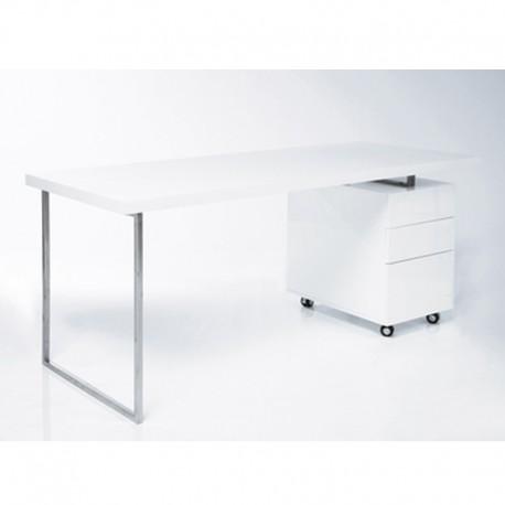 Scrivania porta pc bianco lucido con cassettiera mdm - Porta computer bianco ...