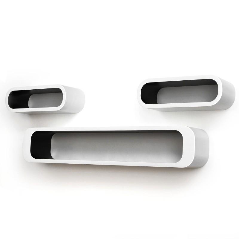 set 3 mensole bianche interno nero mdm arredo mobili