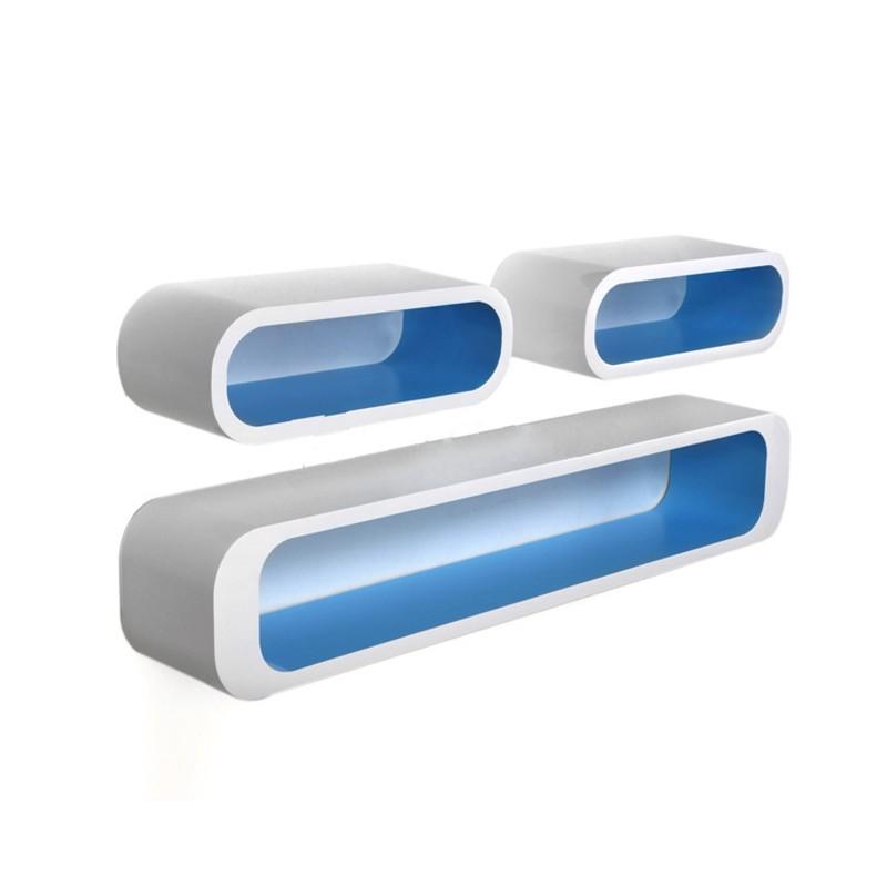 set 3 mensole bianche interno blu laccate lucide mdm