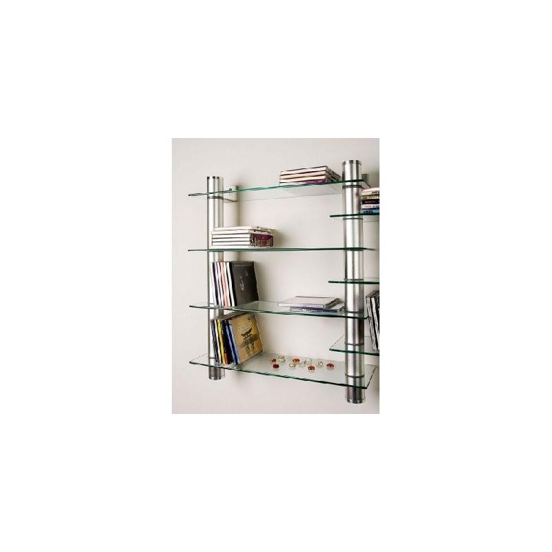 Mensola in vetro con tubi in alluminio mdm arredo for Mensole in alluminio