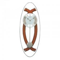 Orologio a pendolo da parete struttura in legno e vetro ovale